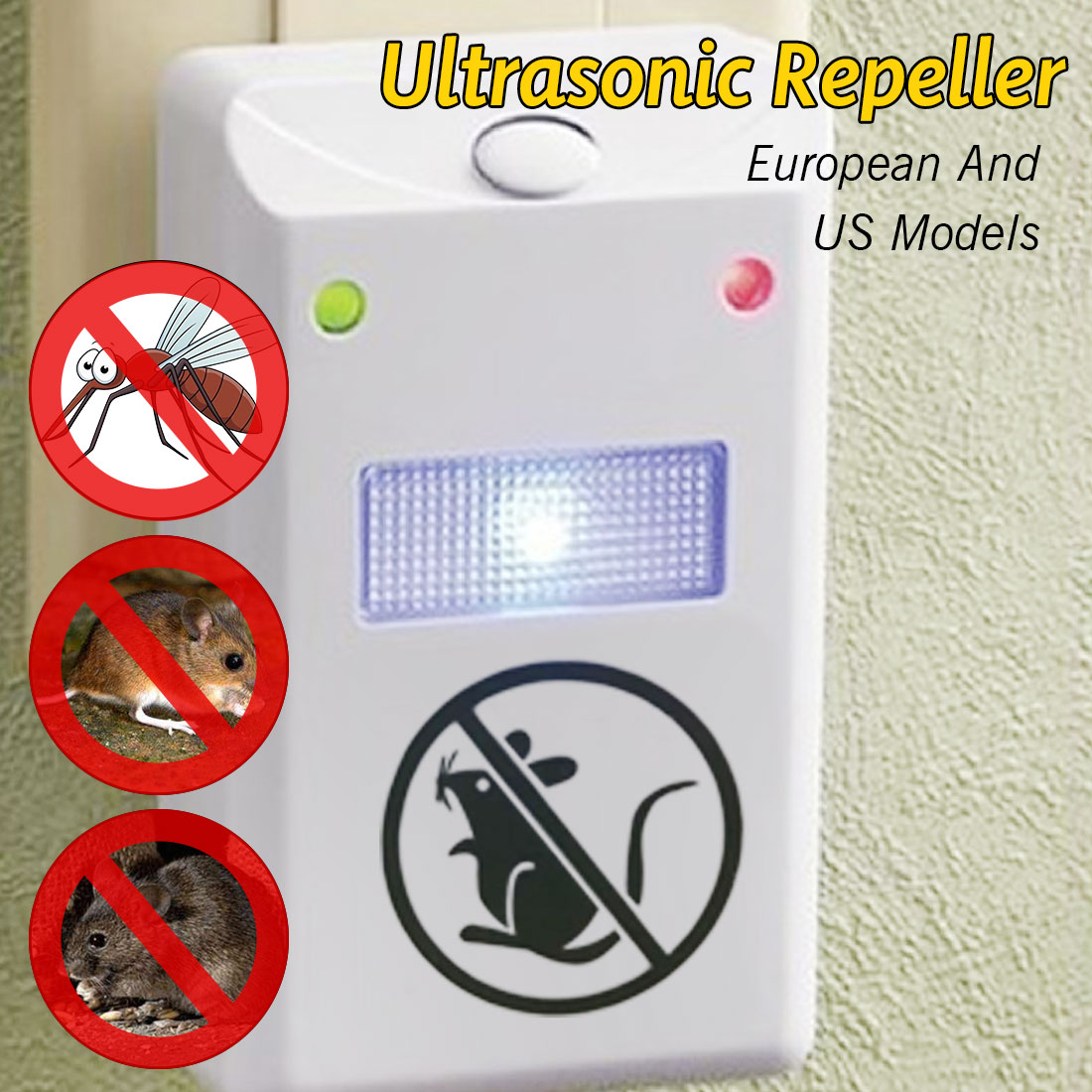 1Pc US Plug Pest Control Electronic Ultrasonic Rat Mouse Mice Repellent Rodent Bug Reject Mole Mosquito Cockroaches Repeller