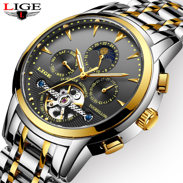 LIGE Men Watch Automatic Mechanical Watches Golden Luxury Brand Business Full Steel Waterproof Sports Clock Relogio MasculinoLIGE Men Watch Automatic Mechanical Watches Golden Luxury Brand Business Full Steel Waterproof Sports Clock Relogio Masculino