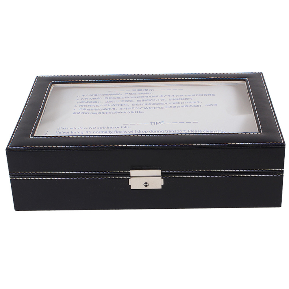 superior large watch display case jewelry box leather glass 12 superior large watch display case jewelry box leather glass 12 slots men black new oct 20 in watch boxes from watches on aliexpress com alibaba group
