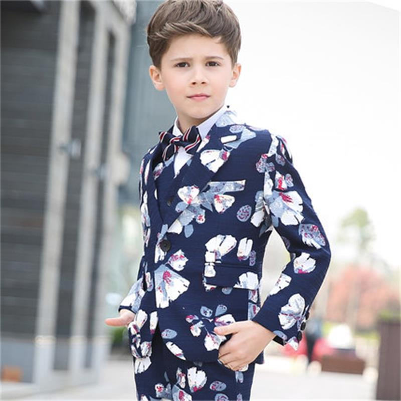 New boy fashion dress England small suit flower boy boy leisure suit costume performance clothing children s suit 2018 fashion england wind children s clothing autumn and winter boy plaid suit performance clothing