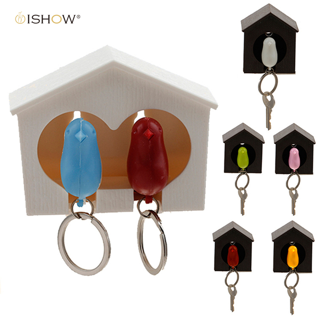 2016 New Arrival llavero Whistle Bird House key chains couple Wall Mount Hook Sparrow Birdhouse Key chain key ring for the keys