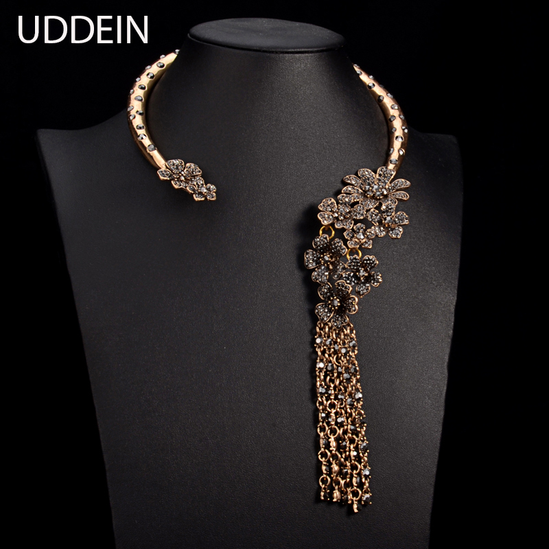 UDDEIN New jewelry T stage catwalk statement necklace Torques Multi layer crystal flower gem alloy tassel necklace & pendant alloy rose flower pendant necklace
