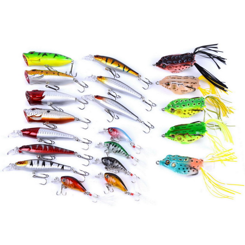 20pcs/set Multi Fishing Lure Mixed Colors Minnow/Popper/Crankbait/Frog Bait Soft Lure Kit Wobbler Frog Fishing Tackle Pesca seanlure 101 pcs lure kit free tackle box soft lure glow minnow fly fishing frog grub hook connector clip jig head craw leader