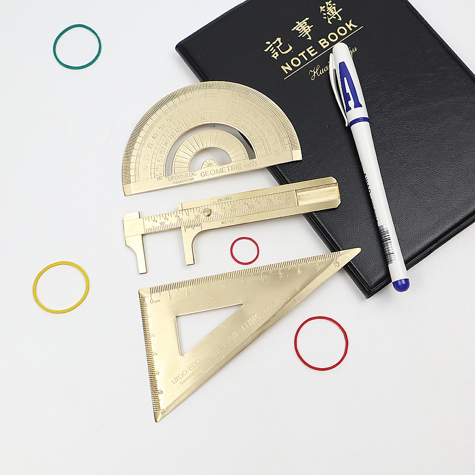 Retro Brass Ruler Vernier Caliper Brass Rulers Protractor Students Drawing Metal Geometry  Ruler Office School Supplies