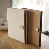 Button Handmade Retro Blank Scrapbook Album Loose leaf Vintage Paper DIY Child Autograph Album Ring Binder With PE Bag
