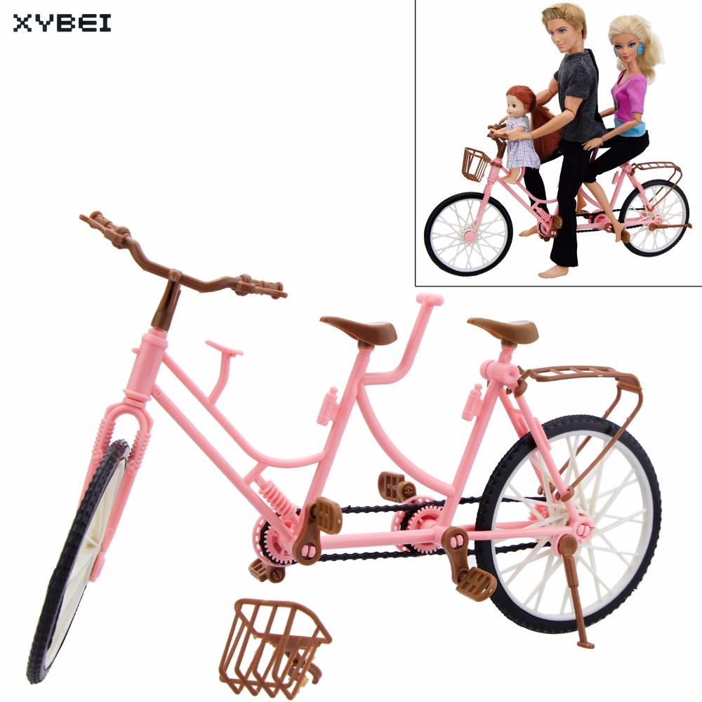 High Quality Plastic Bicycle Three-seat Pink Detachable Bike Outdoor Toys DIY Accessories For Barbie Doll Dollhouse Toy Kid Gift mountain bike four perlin disc hubs 32 holes high quality lightweight flexible rotation bicycle hubs bzh002
