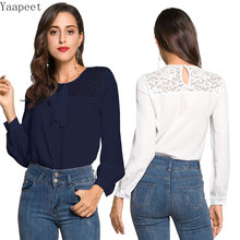 Women Blouses Lace O-Neck Feminine Blouse Shirt Summer Tops for Women 2019 Chiffon Womens Tops and Blouses Ladies Top Female