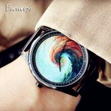 Enmex Individualization  design steel wristwatch 3D Rainbow whirlpool creative Oil Painting fashion quartz clock watch
