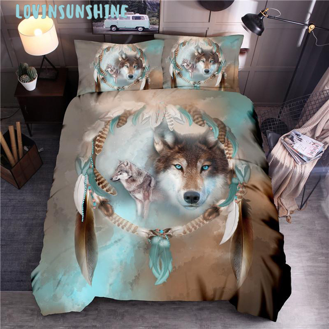 Lovinsun ثلاثية الأبعاد الذئب الملك/الملكة/التوأم حجم 3 قطعة طقم سرير من حاف الغطاء أغطية مخدات السرير المعزي أطقم سرير xx05 #