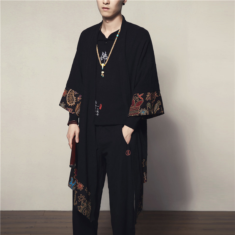 Kimono Veste 2018 Nouveau Printemps D été Longue Broderie Japon Style Hommes  Veste Manteau Homme Kimono Veste dans Vestes de Mode Homme et Accessoires  sur ... d56353ba8056
