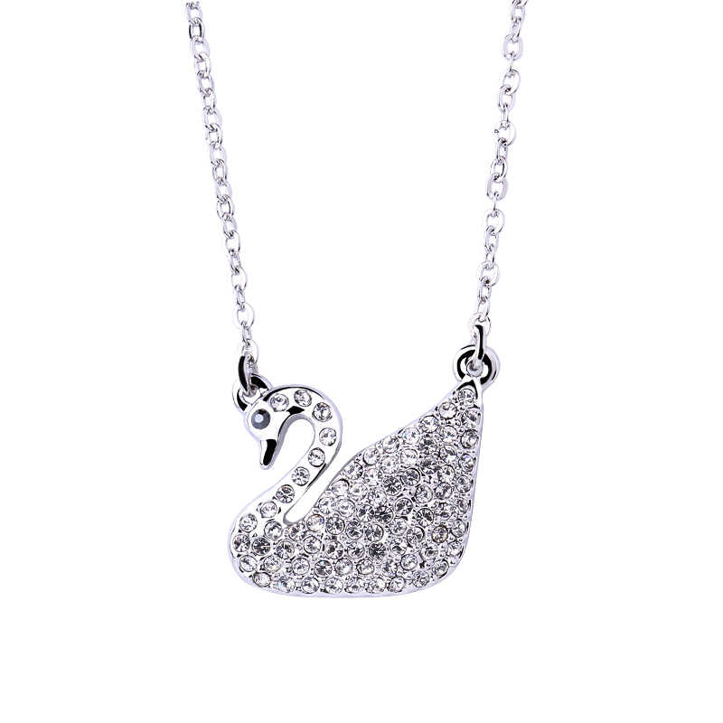 ... Warme Farben Crystal From SWAROVSKI Women Swan Pendant Necklaces  Classic White Charm Chain Jewelry Necklace Party ...