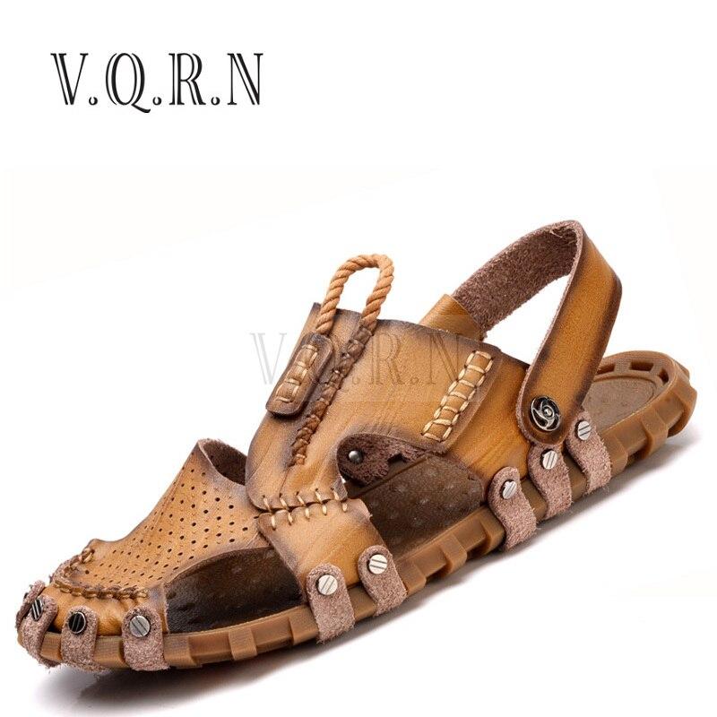 VQRN Fashion Men Beach Sandals High Quality Summer Leather Men Sandals Mens Slippers Zapatillas Hombre