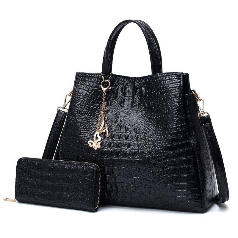 Fashion Handbags Female Crocodile Pu Leather Women Shoulder Bags Luxury Crossbody Bag Women Designer Messenger Bag Send Wallet vanderwah crocodile pattern leather luxury handbags women bags designer women shoulder bag female crossbody messenger bag sac