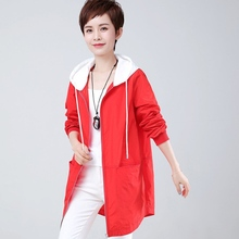 Woman red jacket spring 2019 hooded contrast color outerwear womens high quality casual plus size white hat tops