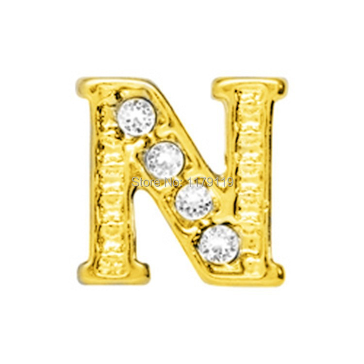 20pcs/lot New Items Gold Word Alphabet NFloating Charm Fit Memory Locket Pandent CMM#862(Free Shipping)