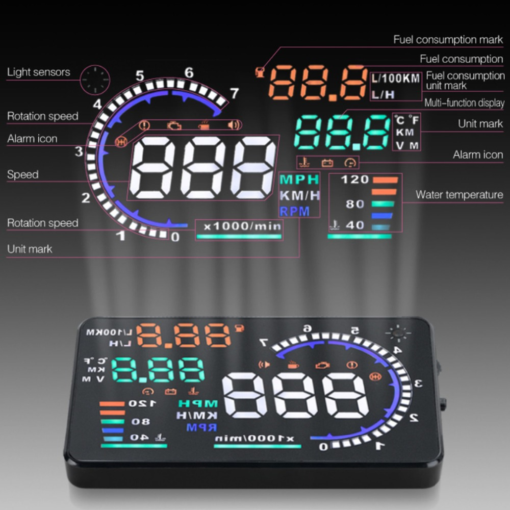 Más nuevo A8 HUD Head Up Display LED parabrisas proyector Speeding advertencia consumo de datos herramienta de diagnóstico envío gratis