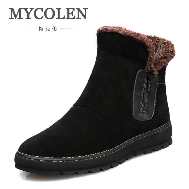 MYCOLEN Hot Sale Brand 2018 Winter Men Boots Cow Suede Leather Shoes Men Fashion Footwear Ankle Boots High Men's Shoes