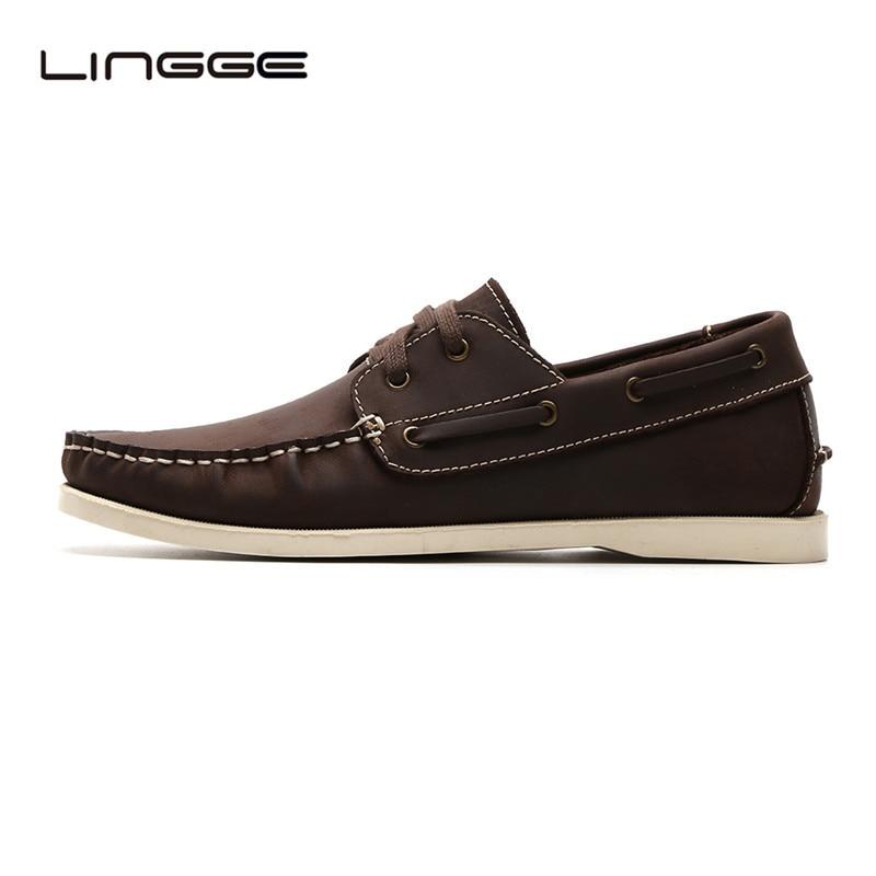 LINGGE Classic 2-eyelet Boat Shoes Full Grain Mens Leather Shoes Flats Men
