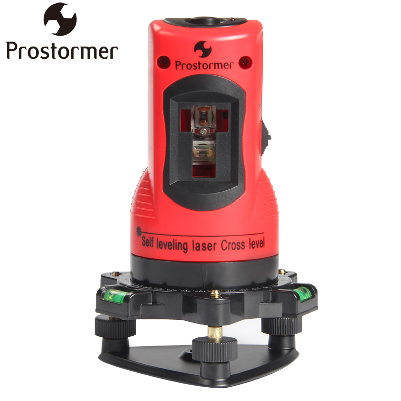 PROSTORMER 2 Lines Self Leveling Laser Cross Level Vertical & Horizontal 360 Rotary Line Leveling 2 Red Cross Line 1 Point Level kacy al04 laser level 2 line rotary 360 leveling 1v1h horizontal and vertical cross lazer levels lines excluding tripod