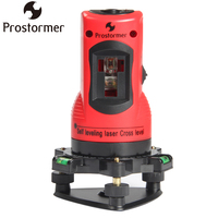 PROSTORMER 2 Lines Self Leveling Laser Cross Level Vertical & Horizontal 360 Rotary Line Leveling 2 Red Cross Line 1 Point Level