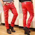 New Men Faux Leather Pants Biker Motorcycle Tight Pencil Pants Trousers US Stock