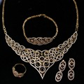 Fashion Flower Bridal Jewelry Set Gold Plated White AAA CZ Diamond 4pcs Set  Wedding Jewelry for Women free shipment