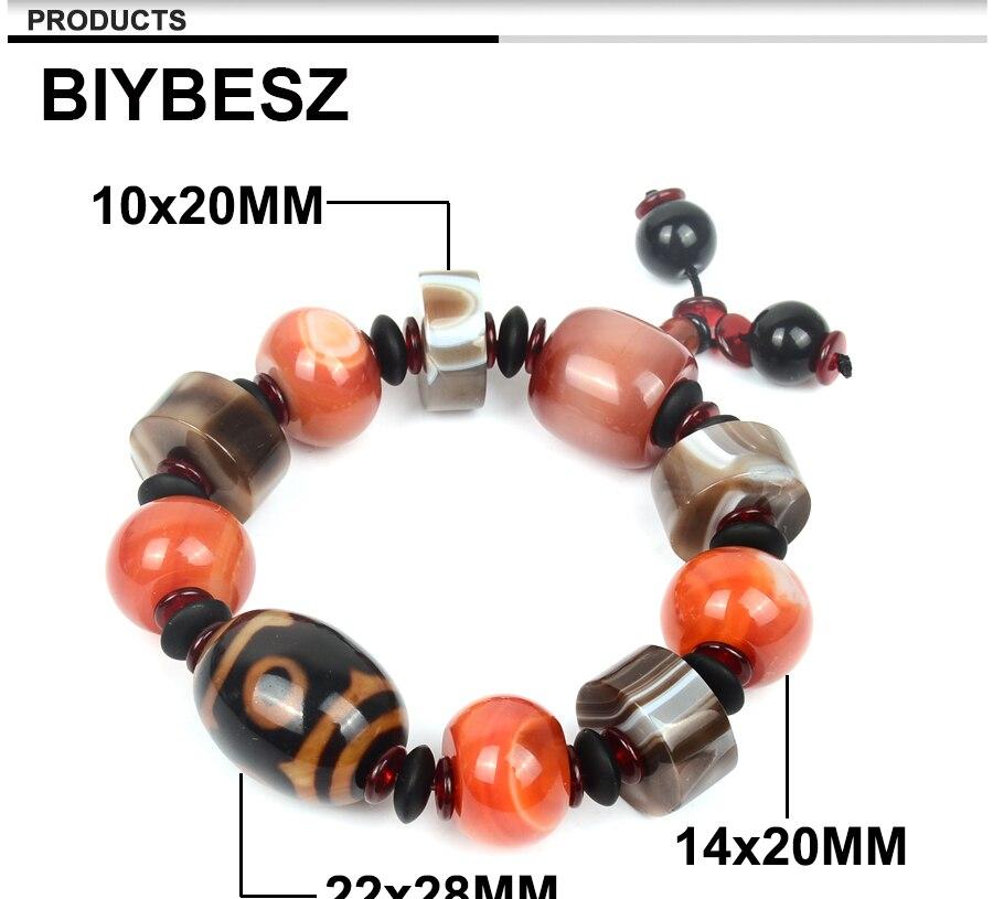 Men\`s Bracelets Big Stone Natural Stone Bracelet Charm Tibetan Beads Men Wrist Dzi Elastic Jewelry Gifts Lucky gemstonee Daily (3)