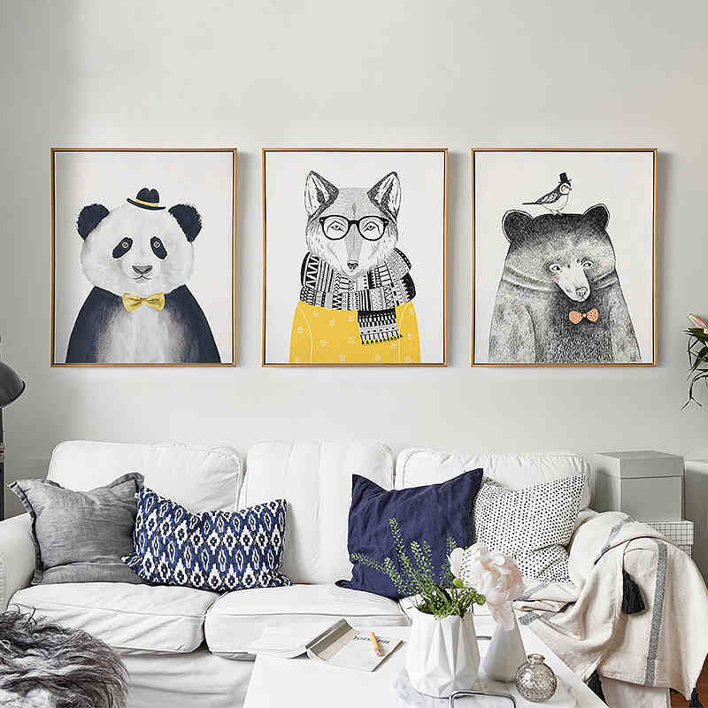 Triptych Watercolor Nordic Animal Lion Bear Panda A4 Art