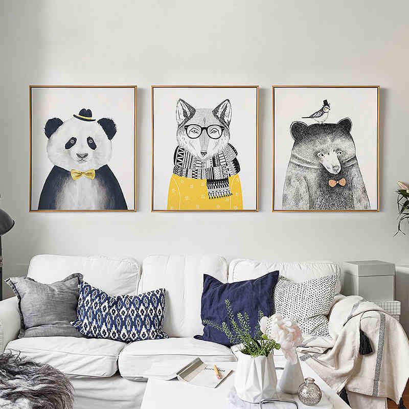Triptych Watercolor Nordic Animal Lion Bear Panda A4 Art