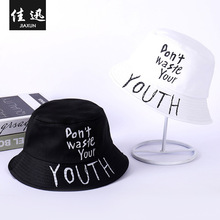 Autumn winter Creative new hat  and American love Finger embroidery pattern fisherman Fashion casual folding bowl cap