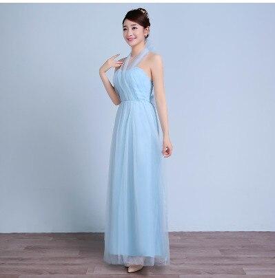 Новое пыльное розовое платье подружки невесты длинное платье с открытыми плечами из тюля милое ТРАПЕЦИЕВИДНОЕ гофрированное платье для свадьбы выпускного вечера платья под$50 - Цвет: light blue