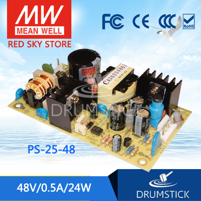 Selling Hot MEAN WELL PS-25-48 48V 0.5A meanwell PS-25 48V 24W Single Output Switching Power Supply meanwell rs 25 48 single output power