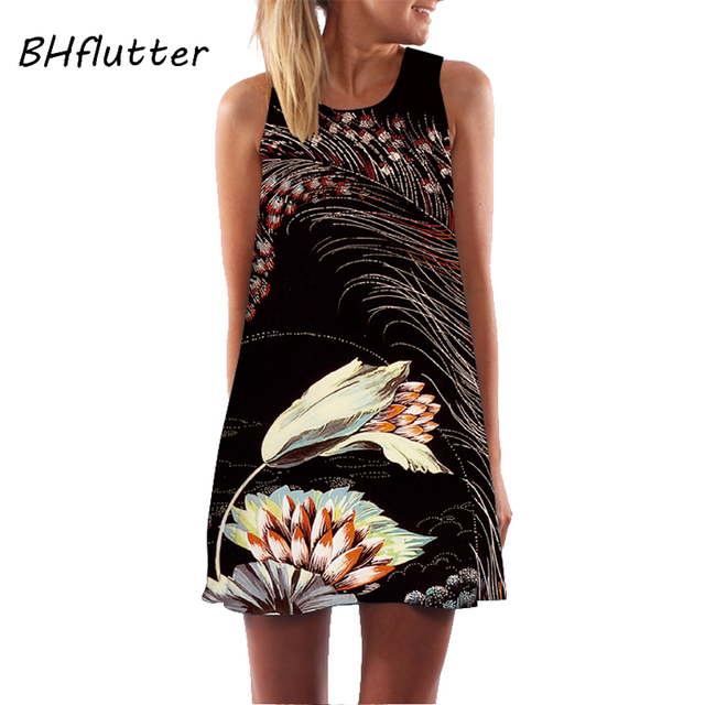 BHflutter Women Dress 2018 New Arrival Rose Print Sleeveless Summer Dress O neck Casual Loose Mini Chiffon Dresses Vestidos 5