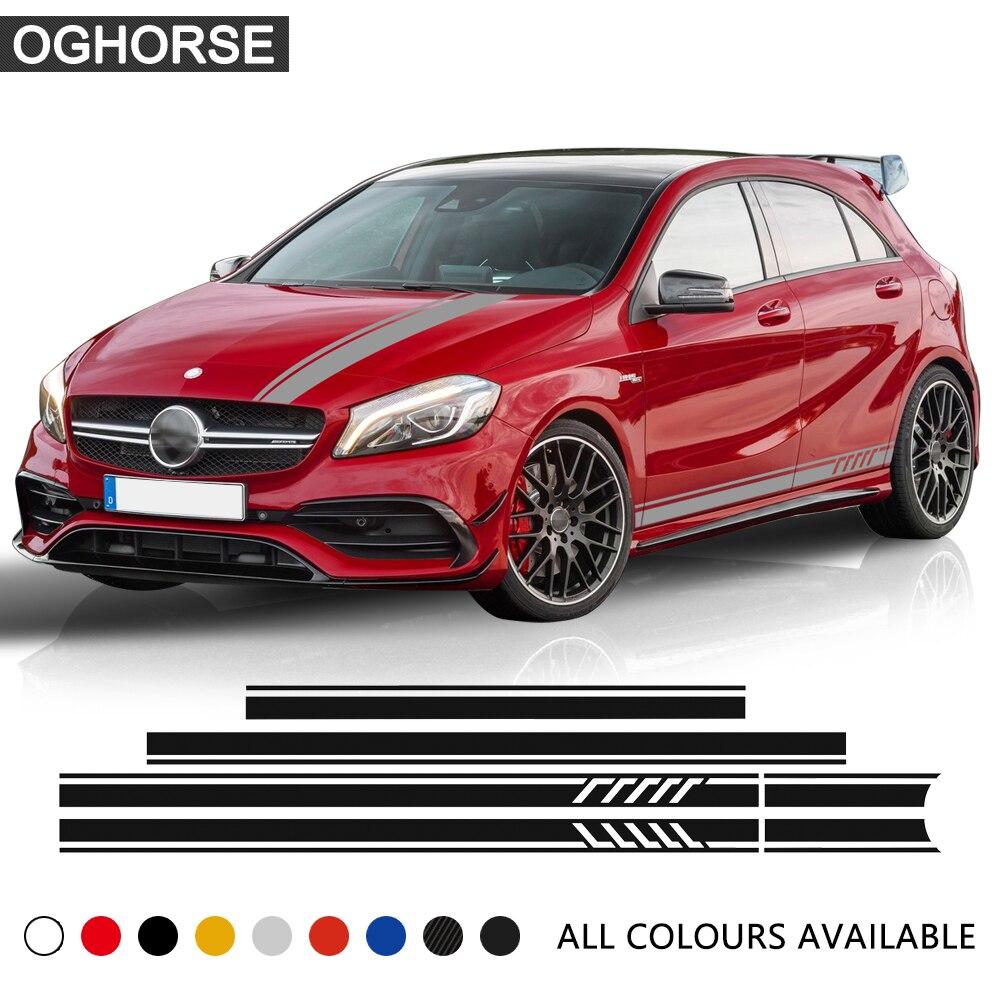 Auto styling boční pruhovaná sukně horní střešní kapota kapota vinyl nálepka auto nálepka pro Mercedes Benz A třída W176 A45 AMG příslušenství