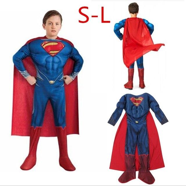 Superhero Avenger League versão das crianças Superman Traje de Halloween Traje Traje muscular