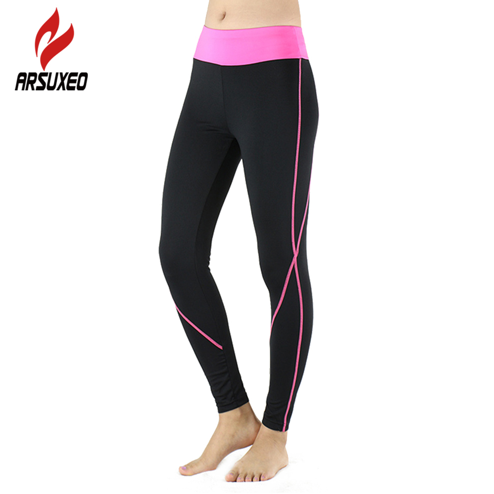 ARSUXEO Women Running Pants Compression Tights female Exerise Yoga GYM Workout Elastic Pants Clothing Slim Legging