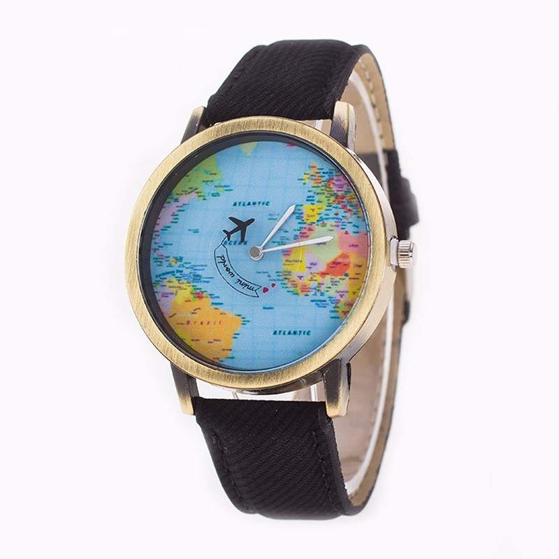 Jaunizveidotais Mini World Map Watch Sieviešu vīriešu Vintage gadījuma kvarca rokas pulkstenis dāvana dāmas kungiem
