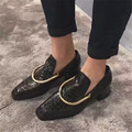 Plus Size 34-43 New Genuine Cow Patent Leather Women Metal Decoration female pumps Square Toe Embossed Square heel Casual Shoes