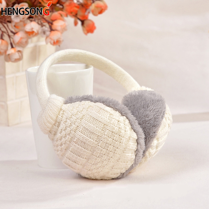 Black Outline Biscuits Ice Cream Winter Earmuffs Ear Warmers Faux Fur Foldable Plush Outdoor Gift