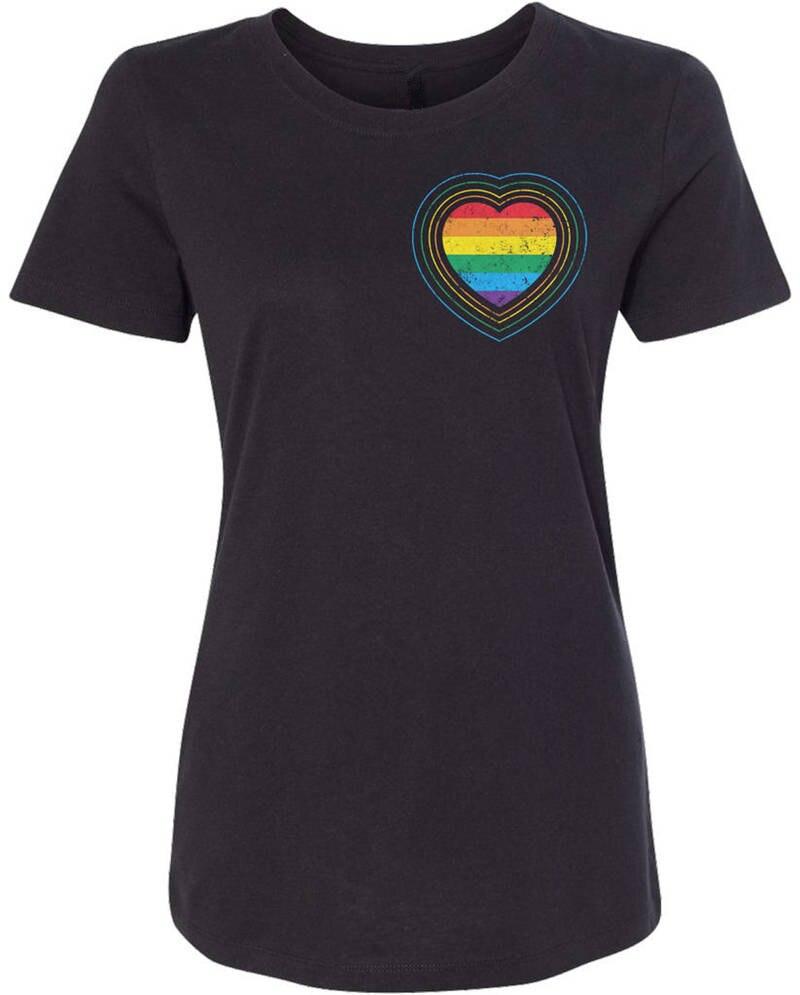 Summer Casual T Shirt Good Quality Slim WomenS Gay Pride Rainbow Heart O-Neck Short Sleeve Best Friend Shirts For Women