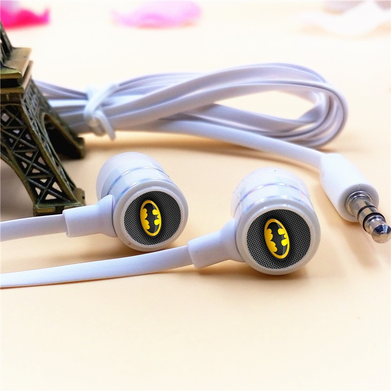 Anime Batman Cartoon In-ear Earphones 3.5mm Stereo Earbuds Phone Music Sport Game Headset for Iphone Samsung MP3 MP4 Player Gift