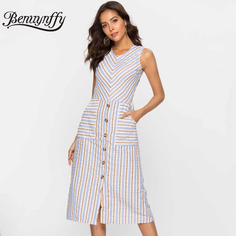 976c1df5a17 Benuynffy Women Knee Length Striped Dress 2019 Summer Casual Pocket Button  Front V-Neck Sleeveless