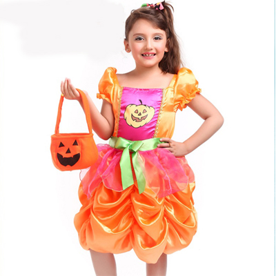 Halloween Pumpkin cosplay costume children stage clothes Children's flower skirt