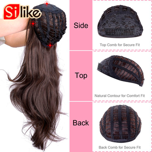 Image 5 - Silike Synthetic 3/4 Half Wigs 24 Inch Long  Blonde Wavy Wig With Clip in Hair Extension 16 Color 210g For Black White Women