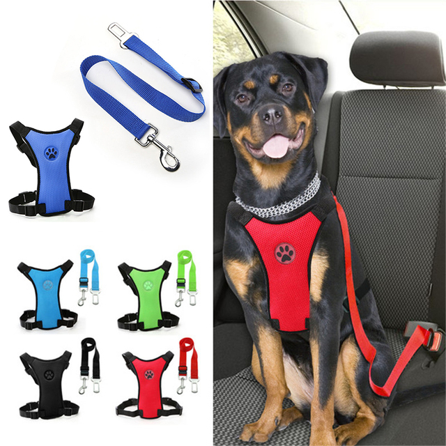Adjustable Safety Dog Car Seat Belt Pet Harness And Leash Set Nylon Mesh Vehicle