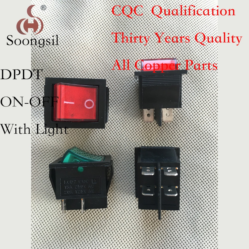 Direct production  Soongsil  Red 4 Pin ON-OFF 2 Position DPDT CQC UL  With Light   Boat  Rocker  Switch AC 15A/250V