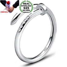 OMHXZJ Wholesale Fashion Joker Simple Nail Lovers Couple 925 Sterling Silver open adjust female for Woman Man Ring Gift RG20