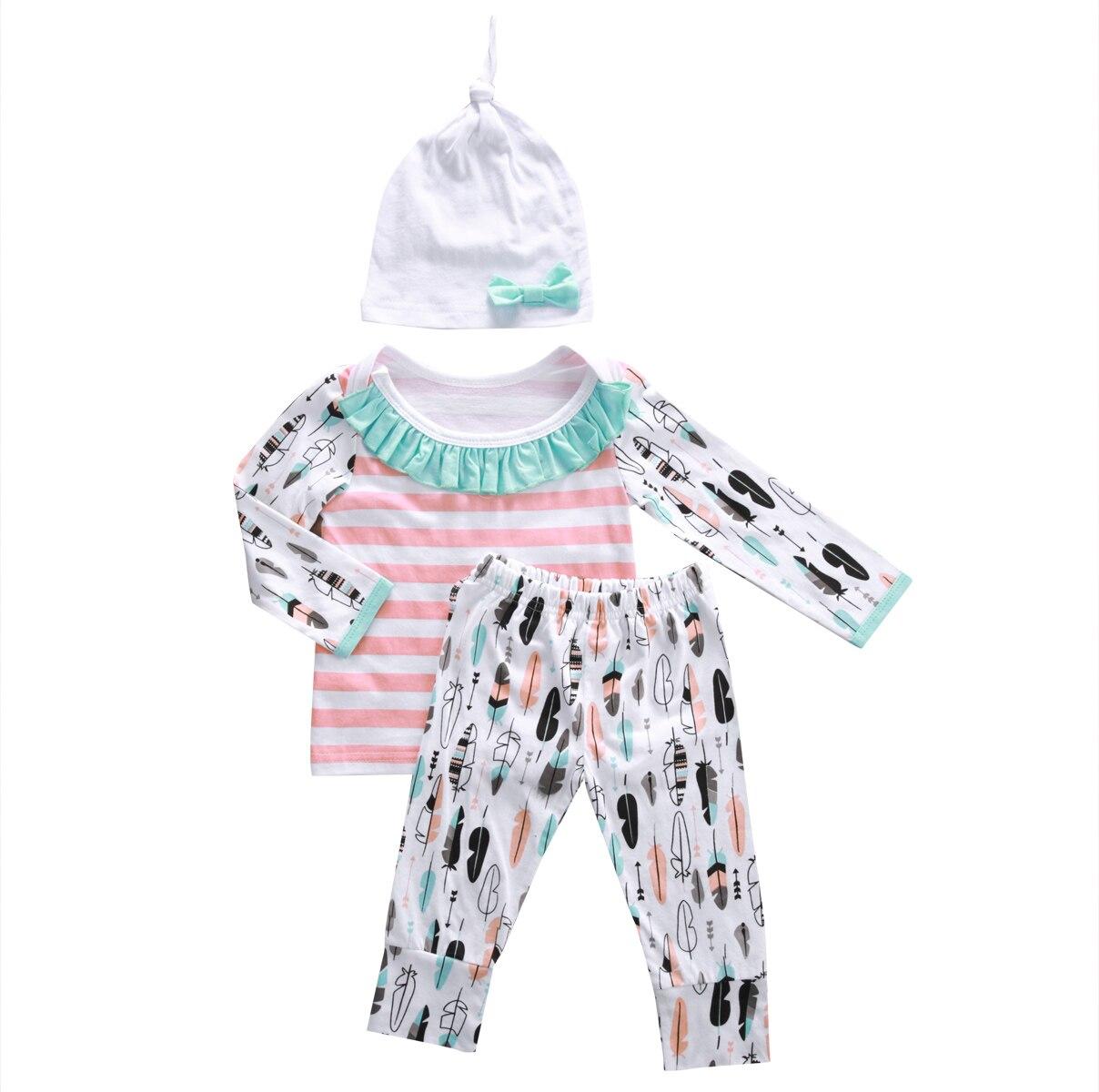Cute Infant Kids Baby Girl Tops T-shirt + Pants Leggings Hat 3pcs Outfit Set Children Autumn Spring Clothes Set