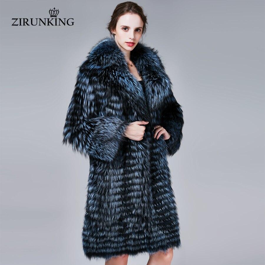 ZIRUNKING Winter Warm Real Fox Fur Coat Women Thick Fashion Natural Silver Fox Fur Coats Luxurious Female Overcoat ZC1710