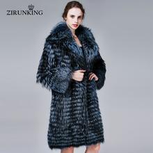ZIRUNKING Winter Warm Real Fox Fur Coat Women Thick Fashion Natural Silver Fox Fur Coats Luxurious